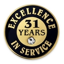 Custom Excellence In Service Pin - 31 Years, 3/4