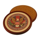 Custom Round Wood Coaster With Leather Inlay, 4