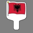 Custom Hand Held Fan W/ Full Color Flag of Albania, 7 1/2