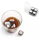 Custom Set of 4 stainless steel chilling ice cubes reusable for whiskey wine beverage, 1' L x 1' W x 1' H