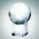 Custom World Globe Optical Crystal Award w/ Cube Base - 3 5/8