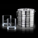 Custom 3 Piece Milano Ice Bucket W/ 2 Rexdale On The Rocks Glasses