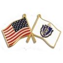 Custom Massachusetts & Usa Crossed Flag Pin, 1 1/8