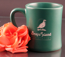 Custom 14 Oz. Carved Ceramic Green Hearth Fire Mug, 4 1/4