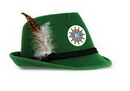 Custom Deluxe Green Alpine Hat w/ Rope Band & Feather Accents w/ Cust Prtd Faux Leather Icon