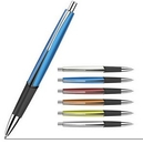 Custom Lacquered Barrel Ballpoint Pen With Comfortable Rubber Grip And Metal Clip, 5 1/2