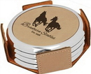 Custom Light Brown w/Silver Edge Round Laserable Leatherette 4-Coaster Set with Holder, 3 7/8