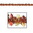 Custom Flame Resistant Metallic Autumn Leaf Garland, 12' L