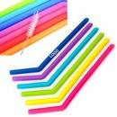 Custom Silicone Reusable Straws With Brush, 9.85