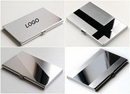 Custom Stainless Steel Card Case With Mirror, 3 5/8