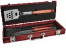 Custom 3-Piece BBQ Set in Rosewood Finish Case, 18 5/8