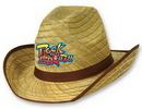 Genuine Cowboy Hat w/ Brown Trim & Band w/ Custom Shaped Faux Leather Icon