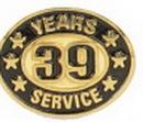 Custom 39 Years Service Stock Die Struck Pins