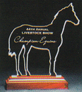 Custom Racetrack Choice Horse Award on a Rosewood Base - Acrylic (9 1/4