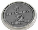 Custom Nickel Plated Boardroom Coaster W/ Zinc Alloy Insert, 3.75