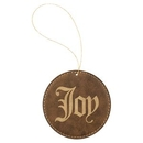 Custom Rustic & Gold Laserable Leatherette Round Ornament with Gold String, 3 3/4