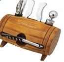 Custom Wine Barrel Shaped w/ 4 Piece Wine Accessory Kit, 5 1/4