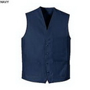 Custom Navy Blue Chef Designs V Neck Button Front Vest