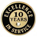 Custom Excellence In Service Pin - 10 Years, 3/4
