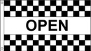 Custom Open Black & White Nylon Checkered Message Flag, 3' W x 5' H