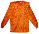 Custom Spider Orange Long Sleeve Tye Dye Shirt