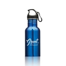 Custom Wide Mouth Bottle with Carabiner - 16oz Blue, 2.75