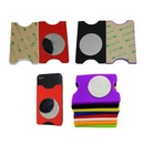 Custom Adhesive Silicone Phone Wallet w/Stainless Steel Mirror, 3.42