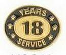 Custom Stock Die Struck Pin (18 Years Service)