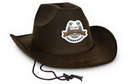 Faux Brown Leather Western Hat w/ Custom Shaped Faux Leather Icon