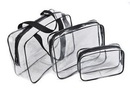 Custom 3 Pack Clear PVC Zippered Luggage Makeup Bag Pouch, 11.81