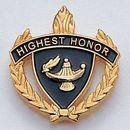 Blank Fully Modeled Epoxy Enameled Scholastic Award Pins (Highest Honor), 7/8