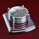 Custom Mayfair Coasters - Set of 4 Rosewood/Chrome, 4.0