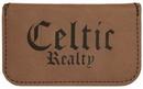 Custom Dark Brown Leatherette Soft Business Card Holder, 4 1/2