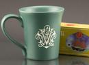 Custom 12 Oz. Carved Ceramic Green Flair Mug, 4 1/2