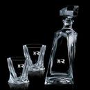 Custom 24 Oz. Bonham Crystalline Decanter W/ 2 On The Rocks Glasses