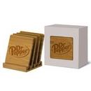 Custom 4 Piece Bamboo Coaster Set In Gift Box, 4