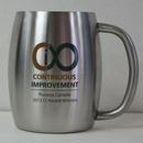 Custom 14 Oz. Double Stainless Steel Beer/ Coffee Mug With Built In Handle, 3.5