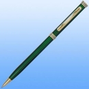 Custom Slim Line Pen- Gold Accent-Black, 5.375