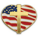 Custom Heart With Cross And Flag - Die Struck Patriotic Lapel Pins