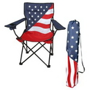 Custom Patriotic USA Folding Chair w/Carrying Case Portable Cotton Canvas, 35