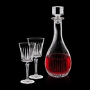 Custom 30 Oz. Crystalline Bacchus Wine Decanter W/ 2 Wine Glasses
