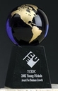 Custom Cobalt Blue Glass World Globe Award w/ Base (4