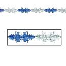Custom Metallic Blue & Silver Winter Snowflake Garland, 9' L
