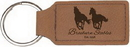 Custom Dark Brown Leatherette Rectangle Keychain, 2 3/4