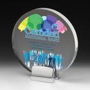 Round Laser Engraved Acrylic Award w/ Chrome Base