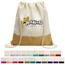 Custom Two-Tone Cotton/ Burlap Drawstring Bag (14.5'' x 16'')