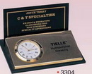 Custom Gold Plated Black Business Card Holder w/ Clock (Screened) (3 7/8