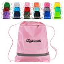 Custom Zippered Drawstring Backpack with Reflective Safety Stripe, 14