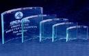 Custom Jade Glass Beveled Bent Glass Award (Sand Blasted)