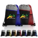 Custom Mesh Pocket Three Color Drawstring Backpack, 13.00